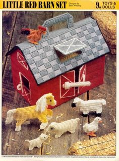 Little Red Barn Set, Annies plastic canvas pattern in Crafts, Needlecrafts & Yarn, Needlepoint & Plastic Canvas Plastic Canvas Crafts, Plastic Canvas Patterns, Toy Barn, Red Barns, Barbie Furniture, Tissue Box Covers, Diy Toys, Little Red, Farm Animals