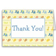 Blue Baby Mod Animals Thank You Cards