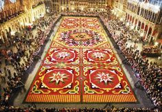 Grand' Place – one of the world's most beautiful squares – was not spectacular enough, every two years the Belgians cover it with a carpet of flowers – nearly one million fresh begonias. The famous Flower Carpet covers 19,000 sq. ft. right in the center of Brussels.