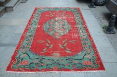 Floral Rose Rug, Vintage Rug, Red Turkish Rug, Handmade Area Rug, Oushak Rug, Ethnic Floor Rug  (279 cm x 176 cm) 9,1 ft x 5,7 ft model: 836 by OushakRugs on Etsy