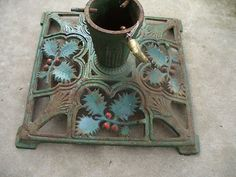 Antique Cast Iron Victorian Holly Christmas Tree Stand Cast Iron