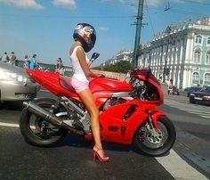 Helmet, , pink shorts, , fingerless gloves, . Wait, high heels? girls-of-moto