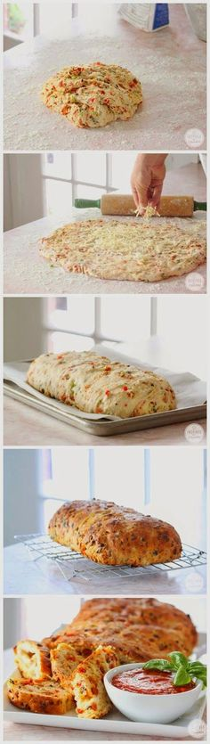 Pizza Bread   Ingredients :     2 teaspoons yeast  1 ½ cups warm water  3 1/3 cups all-purpose flour  2 teaspoons kosher salt  1 ½ tables...
