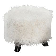 • 100% Polyester faux fur fabric<br>• Wood painted legs<br>• 3 legged footstool<br><br>The Faux Flokati Stool is made with shaggy faux fur fabric for a dramatic accent in your home. This footstool sits on 3 legs and comes in a variety of fun colors that will really pop.