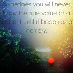 """""""sometimes you will never know the true value of a moment until it becomes a memory"""""""