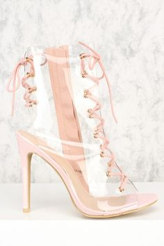 e8dcab5dd46 Pink Clear Front Lace Up Open Toe High Heel Booties Patent