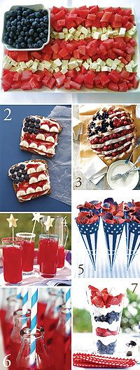 "4th of July snacks-skip skewers and just layout the ""flag""design"