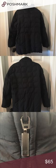 CALVIN KLEIN Duck Down Puffy Coat Water Resistant Size Large CALVIN KLEIN Duck Down Water Resistant Black Puffy Coat. Excellent condition but bottom part of zipper needs a new pull - you have to get the zipper lined up perfectly to get it to zip. Gorgeous, cozy hip-length coat. Calvin Klein Jackets & Coats Puffers