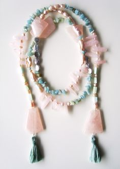 Divino Don Necklace made of rose quartz, amazonite, opal and pearls. Find more at www.divinodon.com
