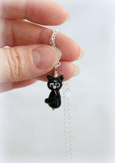 Black lampwork  cat  Handmade glass bead  by Beadjewelryjulia