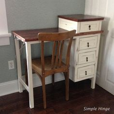 This table has a distressed finish with a stained top. It has four drawers for plenty of storage and we used vintage window latches for hooks along the side to hang a blow dryer and other products....