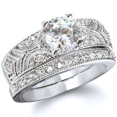 Queen Victoria Vintage Style Sterling Silver CZ Wedding Ring Set - Only $73.95 — Fantasy Jewelry Box #wedding