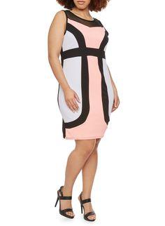 68a1b7216c5 Plus Size Color Block Dress. Rainbow ShopMid ...