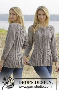 """Alana cardigan / DROPS - free knitting patterns by DROPS design DROPS jacket knitted from top to bottom in """"Karisma"""" with cable pattern and raglan sleeves. ~ DROPS design H. Aran Knitting Patterns, Knit Patterns, Free Knitting, Cardigan Pattern, Jacket Pattern, Cardigan Design, Wool Cardigan, Handgestrickte Pullover, Drops Design"""