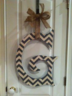 Chevron Wooden Door Hanger by TheCrimsonTusk on Etsy, $30.00