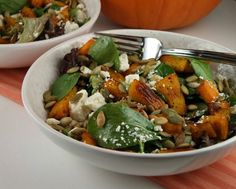 This recipe for Maple Roasted Pumpkin Salad makes a great fall salad for entertaining... Thanksgiving or parties. Photograph included.