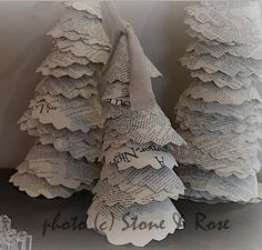 Recycled Christmas Trees from damaged books from Stone and Rose
