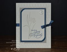Love and Sympathy Shara Sand-001.jpg  I believe this card was inspired by one I saw on Mary Fish's blog.  I love the simplicity and subtleness of it.  It is done with Very Vanilla, Sahara Sand and Midnight Muse.  The stamp set is Love and Sympathy.  An faceted button adorns the upper corner, I truly love those buttons!  The card base is embossed using the Fancy Fan embossing folder.