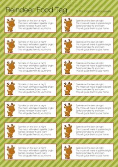 Free Printable Reindeer Food Tags | Reindeer Food » The Organised Housewife