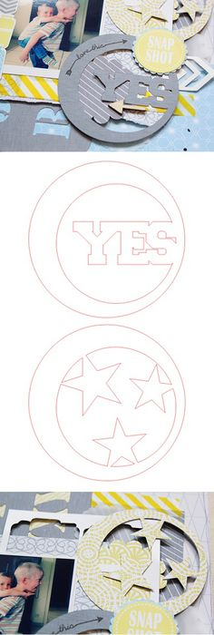 Free ' Yes & Stars Circles' cutting file, by Lilith Eeckels Silhouette Cutter, Silhouette Machine, Silhouette Files, Silhouette Design, Kirigami, Decoration Evenementielle, Deco Retro, Silhouette Portrait, Silhouette Cameo Projects