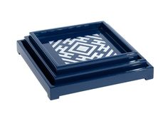 CHOW SQUARE NESTING TRAYS  SET OF 3: NAVY LACQUER  Dimensions 7 X 7 X 2H