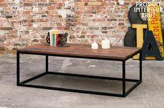 Trendy salontafel van massief hout en metaal. Geschikt voor een moderne woonkamer of loft!