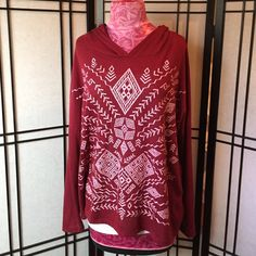Brand Printed Hoodie Shirt Super cute, and comfy oversize hoodie shirt. Wine color with native style screen print. Long sleeve. Poly rayon blend. Recommend cami underneath. Brand new with boutique tags. From smoke free home. Tops Sweatshirts & Hoodies