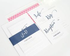 Pink and Navy wedding invitations, Modern
