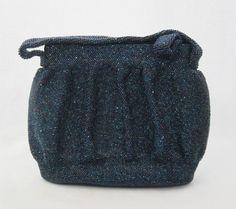 vintage blue beaded bag
