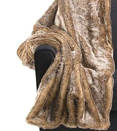 Tahari Home Taupe Mink Faux Fur Throw Blanket, 50 x 60 inches