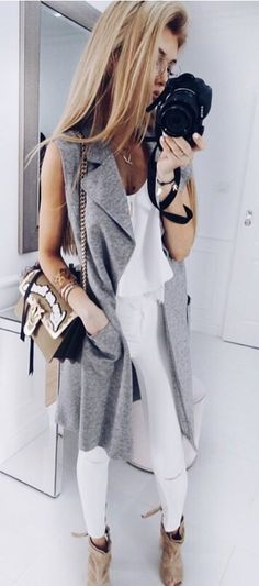 #summer #outfits  Grey Sleeveless Coat + White Top + White Ripped Skinny Jeans + Camel Open Toe Booties