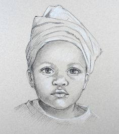 Image result for black and white portrait drawings of children