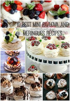 10 best mini pavlova and meringues recipes that are so great to make for parties and weddings. Pretty and colorful as well as tasty.Yummy Advertisement - Continue below // Lemon-meringue-pie-bites Strawberry and berry. Mini Pavlova, Fancy Desserts, Just Desserts, Delicious Desserts, Christmas Desserts, Christmas Baking, Meringue Desserts, Meringue Pie, Meringue Pavlova
