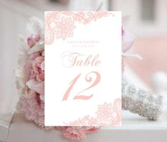Lace Table Numbers Wedding Template Instant by PixelRomance4ever