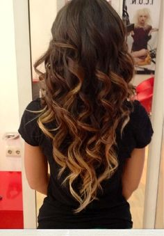 Curled ombre hair. This is so perfect! @Brittany Horton Horton Horton Horton Ruse this looks like yours!!