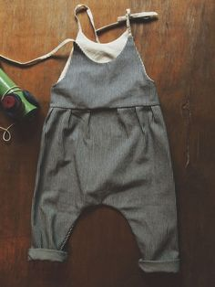 Striped denim baby overalls