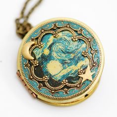 Locket, Necklace, jewelry gift,Pendant,Moon and Star Locket, Wedding,The Starry Night bridesmaid gift locket necklace,vincent van gogh by emmalocketshop on Etsy https://www.etsy.com/listing/93765665/locket-necklace-jewelry-giftpendantmoon
