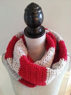 Items similar to SALE Infinity scarf striped red and gray, Écharpe infinie, Foulard infini. Crocheted scarf, Knitted scarf on Etsy Crochet Snood, Crochet Scarves, Crocheted Scarf, Striped Scarves, Red Scarves, Winter Scarves, Aluminum Wire Jewelry, Unisex Gifts, Fashion Mode