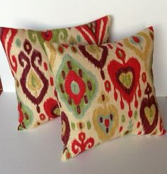 Two Red Beige Blue Purple Yellow ikat fall pillow covers, decorative pillow cover, accent pillow, pillow case, 18x18 pillow
