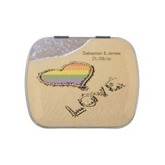 Gay Pride Love Heart In The Sand Wedding - candy tin keep-sake gift idea .. perfect gay / lesbian wedding favors ideal for the reception tables from Ricaso .. Copyright © Ricaso. All rights reserved. NOTE we do NOT allow you to use our images ..