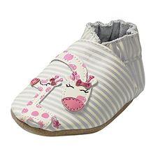 Robeez Girls Baby Shoes Giraffe Cream Grey Stripe Leather Soft Sole Crib Shoes