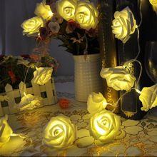 0df16e66723f 20 LED Christmas Wedding Flower Rose Fairy String svetla lampy Vnútorné    vonkajšie   L0192587 (