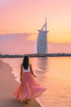 Burj Al Arab at Sunset – Dubai Sunset Photography – travel outfit summer Dubai City, Dubai Hotel, Dubai Vacation, Dubai Travel, Dubai Trip, Beautiful Places To Travel, Cool Places To Visit, Sunset Photography, Amazing Photography