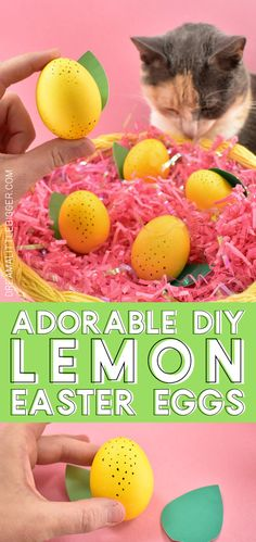 These easy and adorable lemon eggs are too kitschy cute to not make! Plus learn our hack for the EASIEST way to dye Easter eggs, hands down! Yellow Foods, Easter Egg Dye, Homemade Soap Recipes, Diy Easter Decorations, Edible Food, Easter Holidays, Easter Treats, Cool Diy Projects, Easter Baskets