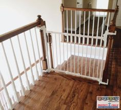 Safeguard your stairs with a beautiful baby gate installed by Safe Baby Childproofing in Franklin, TN. Custom mounted with no holes in posts.