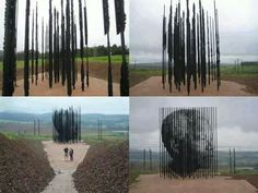 The Nelson Mandela Sculpture in Howick KwaZulu-Natal South Africa. The artist of the sculpture is Marco Cianfanelli. The sculpture is made up of 50 poles that symbolize the Anniversary of his arrest in Howick KwaZulu-Natal. Nelson Mandela, Urbane Kunst, Prison, Wtf Fun Facts, Random Facts, Parcs, Public Art, Urban Art, Amazing Art