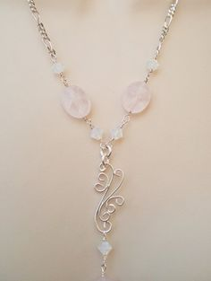 Rose Quartz and Crystal Filigree YDrop Necklace  Delicate  by Zeba, $90.00