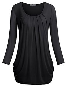 Women Tunic BlousesCestyle Ladiess Long Sleeve Scoop Neck Pleated Front Fitted Shirt Top XLarge Black >>> You can find out more details at the link of the image.Note:It is affiliate link to Amazon.