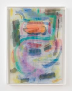 Available for sale from Rachel Uffner Gallery, Strauss Bourque-LaFrance, Figment of a Miracle, Plexiglas, plastic mesh and spray enamel, 40 × 30 × 2 1/4 in