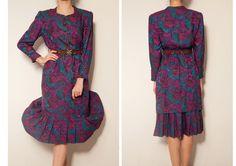 1980's japanese  floral vintage dress,long sleeve dress,pleated dress,blue pink purple dress,floral dress,tea dress,autumn fall dress by VintageCosmopolitan on Etsy